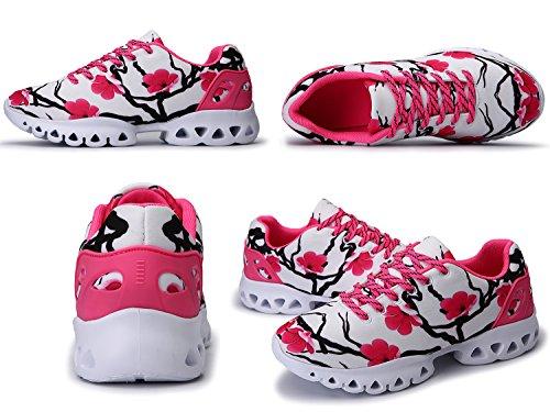 IIIIS-R Herren Damen Unisex Laufschuhe Walkingschuhe Leichtathletikschuhe Fitnessschuhe rosa Weiß