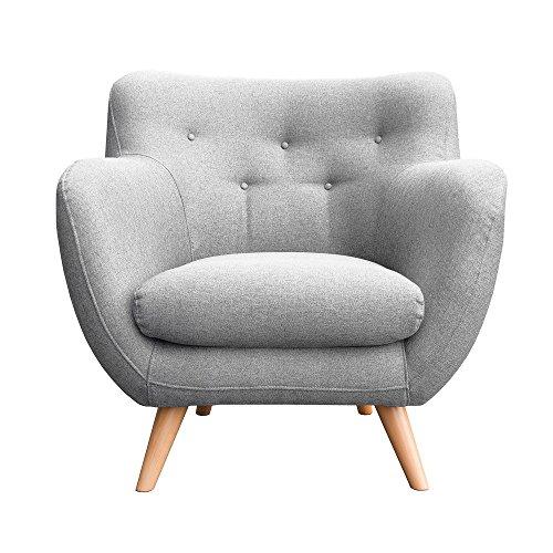 myHomery Sessel Adele gepolstert - Polsterstuhl für Esszimmer & Wohnzimmer - Lounge Sessel mit Armlehnen - Eleganter Retro Stuhl aus Stoff mit Holz Füßen - Hellgrau | Sessel - Wohnzimmer-moderne Sessel