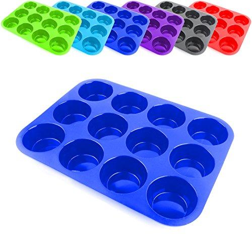Belmalia stampi per 12 muffin, silicone, rivestimento antiaderente, cupcakes, brownies, torta, budino Blu Scuro
