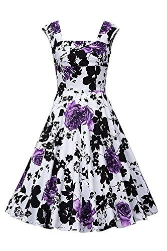 Babyonlinedress Robe de soirée/Bal/Cocktail Courte Rétro Vintage Impression Fleur année 1950 Bretelles, Style Audrey Hepburn Rockabilly Swing Blanc Lilas