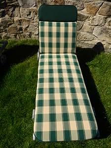 Garden Furniture Cushions - Green And Cream Check Lounger Cushion For Wooden or Metal Garden Sun Loungers 198x60x6cm