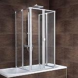 Schulte Duschabtrennung München inkl. Klebe-Montage, 140 cm hoch, 2x3-teilig faltbar, Kunstglas Tropfen-Dekor, alu-natur, geschlossene Duschkabine für Badewanne