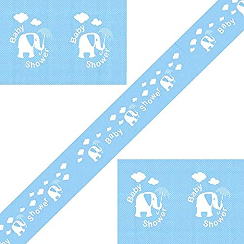12ft Blue and Silver Foil Elephants, Hearts and Umbrellas Baby Shower Banner - Ideal for a baby boy's shower, Perfect for decorating your special day, Coordinate with other Blue decorations (3 Banners)