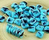 20pcs Blau Opal Lila Gefleckte Flach Gewellten Quadrat-Chip Waschmaschine Tschechische Glas-Perlen 10mm x 4mm