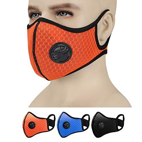 Ajustable Antipolvo Mascarillas con Filtro de Carbón Activado, Antipolucion PM2.5 Mascara Deporte Facial Mascarilla, Motocicleta Bicicleta Ciclismo Esquí Mitad Cara Máscara Accesorios (Naranja)