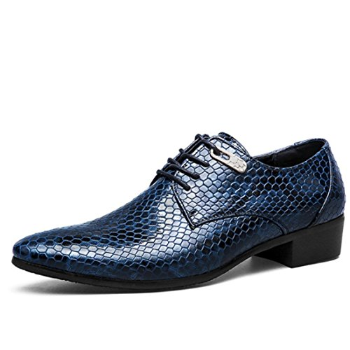 Men's High Quality Snakeskin Leather Patent Formal Shoes blue