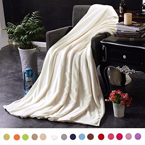 Flanell Decke, wanshop® Super Weiches Warmes massiv Warm Micro Plüsch Fleece Solide Decke/Überwurf Teppich Sofa Betten, Fleece, beige, 100X140cm (Flanell Teal Plaid)