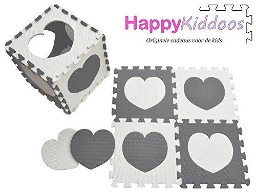 Happykiddoos Puzzlespielmatte 10 Foam Matte. Spielmatte Schaumstoff Verriegelung Puzzle Kinderteppich. Jede Matte hat eine Größe von 30x30cm und ist 1 cm dick (Herz, Grau/weiß) -