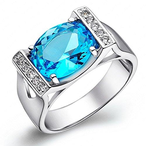 AnaZoz Schmuck 18K Überzog Funkelnden Blauen Saphir Ring Platin Überzogen Imitation Rings Hipster (Platin-blau Saphir-ring)