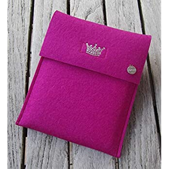 zigbaxx eReader Hülle LITTLE CROWN Case Sleeve Filz u.a. für Kindle, Kindle Paperwhite, Kindle Oasis – 2019/2018/2017 – Schutzhülle aus 100% Wollfilz – pink beige grau braun anthrazit – Geschenk