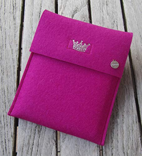 zigbaxx eReader Hülle LITTLE CROWN Case Sleeve Filz u.a. für Kindle Paperwhite Oasis 2/2017/2018 - Schutzhülle aus 100% Wollfilz - pink schwarz beige grau braun - Geschenk Weihnachten Geburtstag