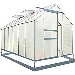 Zelsius - Aluminium Gewächshaus, Garten Treibhaus in verschiedenen Größen, mit Hohlkammerstegplatten, wahlweise mit Stahl-Fundament-Rahmen (190 x 380 cm - 6 mm Platten, mit Fundament)