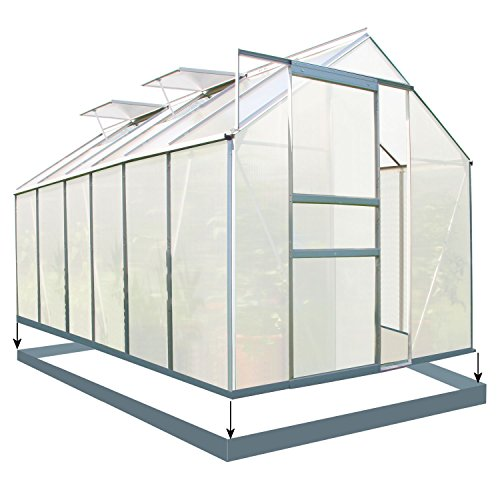 Zelsius - Set: 7,2 m² Aluminium Gewächshaus + Fundament,380 cm x 190...