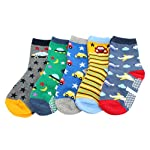 Pack of 5 Boys Kids Anti-slip Cotton Socks (Age 4 5 6 7)