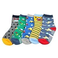 Pack of 5 Boys Kids Anti-slip Cotton Socks (Age 4 5 6 7)