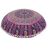 "Funda para cojín de suelo tamaño grande, Mandala manta funda de almohada de 32, ""Indian redondo puf otomana, Boho almohada, Pom Pom al aire libre cojines"