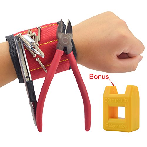 Magnetisches Armband, Jusoney Magnetarmband mit 10 starken Magneten für Werkzeugen, Schrauben, Nägel, Schrauben, Bohren Bits und Kleinwerkzeuge,mit Magnetisierer / Entmagnetisierer