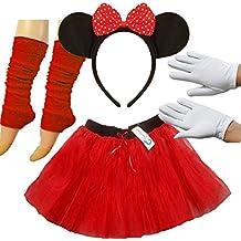 PAPER UMBRELLA - Juego de accesorios para disfraz de Minnie Mouse (tutú, diadema con orejas, guantes y calentadores)