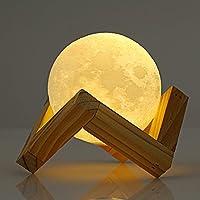 Nacatin LED 10 CM Lámpara de Luna Nocturna Infantil para Niños, Control Táctil Inteligente, Lámpara Control de 3D Luz con Dos Colores Cambiados, USB Recargable y Soporte de Madera, Muy Buena Decoración para Dormitorio, Regalo Elegante de la Fiesta (10CM)