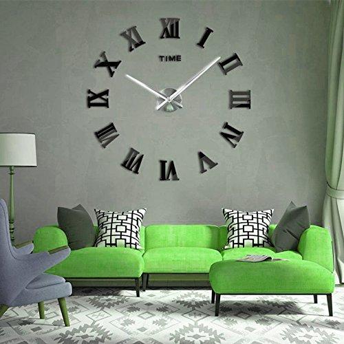 Horleora Reloj de Pared Adhesivos 3D Modern Mute con Digitales Romanos Para Hogar, Oficina, Hotel Restaurante