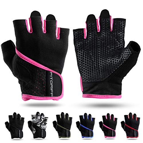 Fitgriff® Trainingshandschuhe für Damen und Herren - Fitness Handschuhe ohne Handgelenkstütze für Krafttraining, Bodybuilding, Kraftsport & Crossfit Training - Gym Workout Gloves