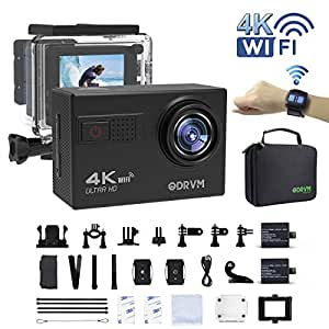Action Camera 4K Wi-Fi Underwater Camera UHD 60fps 20MP Digital Waterproof Camera 1080P/60fps with 2.4G Remote Control/70-170 Wide Angle Lens/19 Accessories Kits for Bike, Kids, Helmet, Android, Motorcycle, Drone, Fishing, Children, Snorkelling