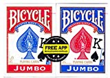 Bicycle 1004949 Poker Playing Cards Jumbo Index 2 Pack, red