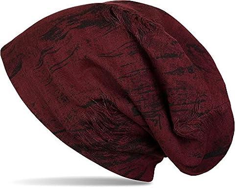 styleBREAKER bonnet beanie look destroyed vintage used, bonnet beanie long, unisexe 04024068, couleur:Bordeaux-rouge