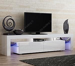 Modern TV Unit 200cm Cabinet White Matt and White High Gloss FREE LED RGB Lights