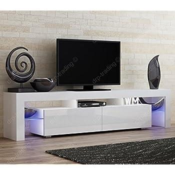 Modern TV Unit 200cm Cabinet White Matt And High Gloss FREE LED RGB Lights