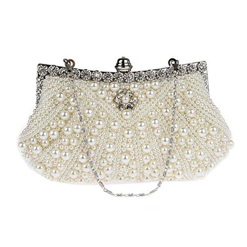 KAXIDY Damen Vintage Samen-Perlen Abendtasche Hochzeit Bead-hand-knit Abschlussball & Party-Abend Handtasche (Weiß)
