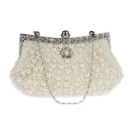 KAXIDY Damen Vintage Samen-Perlen Abendtasche Hochzeit Bead-hand-knit Abschlussball & Party-Abend Handtasche (Weiß) (Vintage Tasche Abend Perlen)