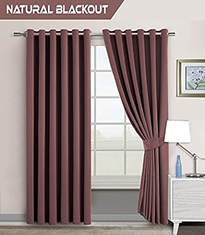 Blackout Super Quality Ring Top Pair Curtains for Bedroom+Restaurants+Offices Thermal Super Soft Interwoven Blackout Curtains + 2 Tie Backs (2 x ( 66