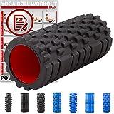 POWRX Faszienrolle Foamroller Massagerolle Pilatesrolle Schaumstoffrolle (Schwarz - Genoppt)
