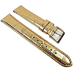 Minott Replacement Band Watch Band Leather Kalf Strap Gold 22016G, Abutting:18 mm