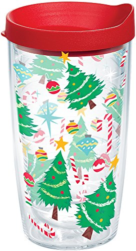 Tervis 1204069 Candy Cane Lid, O Christmas tree tumbler, O Christmas tree tumbler how lovely are your hot or cold drinks inside Very. , Red