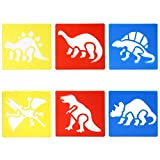 6 x Esténciles Dinosaurios en Plástico - para Decorar Tarjetas, Dibujar Álbumes de Recortes, Artes y Manualidades - Plantillas Animales Lavables Surtidos - de TRIXES