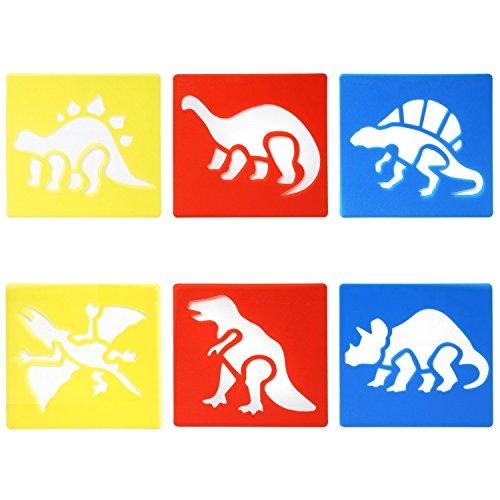 Trixes 6er Set Dinosaurier Zeichenschablonen für Kinder Zum Scrapbooking Gruss- und Geburtstagskarten