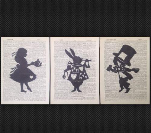 3x Alice nel paese delle meraviglie Cappellaio Matto Vintage Dizionario pagina Stampa Foto Artistica Da Parete