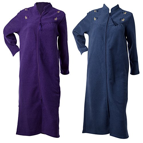 Waite Ltd Ladies Anti Pill Terry Fleece Zip Dressing Gown Floral Embroidered Housecoat Robe (Various Colours)