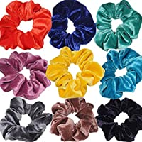 Bibao 9 Pack Headbands Vintage Velvet Hair Scrunchies Elastic Hair Bands Multi Color Hair Bobbles Hairband Twisted Accessories (Multicolour)