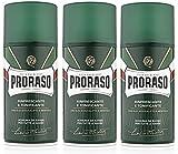 3er Rasierschaum Grün Proraso mit Eucalyptusöl und Menthol für alle Hauttypen je 300 ml = 900 ml