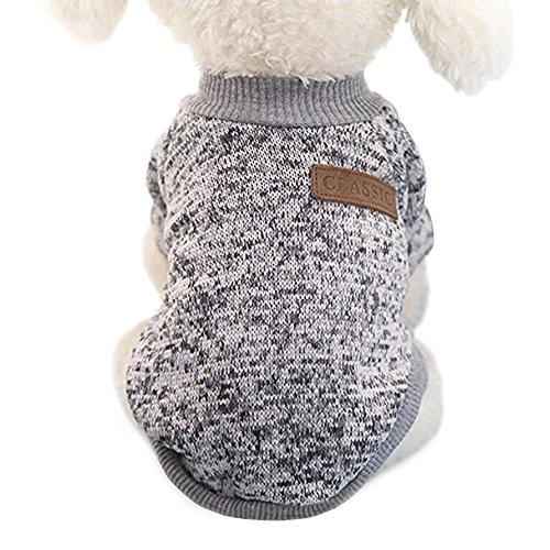 Idepet - Ropa para mascotas: jersey de forro polar para perros y gatos, S, Gris