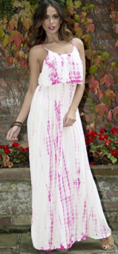 Vibrant Ladies Womens Tie Dye Print Maxi Dress with Adjustable Straps, Pink, Small