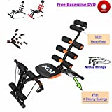 Abs Rocket Chair Abdominal Fitness Multi 6 Gym Trainer Exerciser Crunches Machine Bench Home Gym Exercise Workout Training (Black)