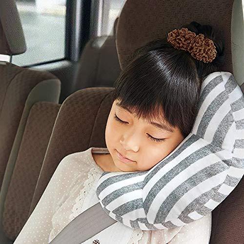 KiraKira Gurtpolster für Kinder, Auto Schlafkissen, Reise-Nackenkissen Nackenhörnchen, Autositz Kopfkissen Gürtel Pillow Schulterschutz, Maschinenwaschbar,Super weich(grey)