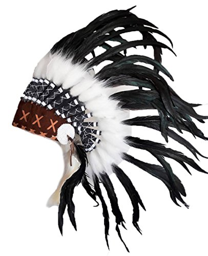 KARMABCN N40- Indianer Kopfschmuck für 5 bis 8 Jahre altes Kind/Kinder, Hut, Warbonnet, Feder Kopfschmuck (Indische Kopfschmuck Kostüm Halloween)