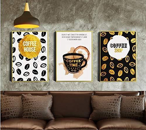 YuanMinglu Gold Vintage Kaffee Dekoration malerei wandbild Kunst leinwand malerei Wohnzimmer rahmenlose 30x40 cm