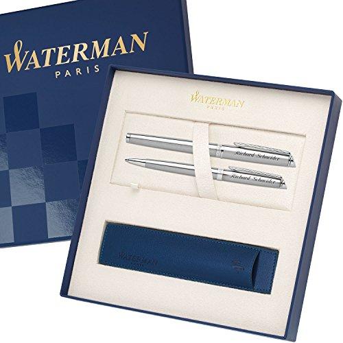 WATERMAN Schreibset HEMISPHERE Essential Edelstahl C.C. mit persönlicher Laser-Gravur Füllfederhalter und Kugelschreiber im großen Geschenk-Etui