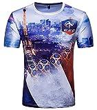 Whatlees Herren Slim Fit FIFA Fussball WM 2018 3D Druck T-Shirt Frankreich - Ba0043-10 - L